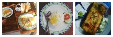 A gauche: petit-déjeuner à Melbao Homestay (inclus dans le prix de la chambre) - Au milieu: Fried Rice à Melbao Homestay - A droite: Galette de légume au Warung Bambu