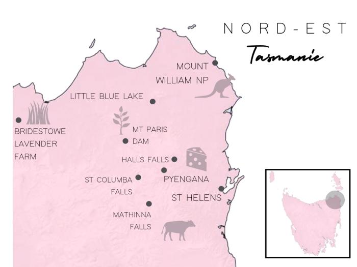 carte nord est tasmanie